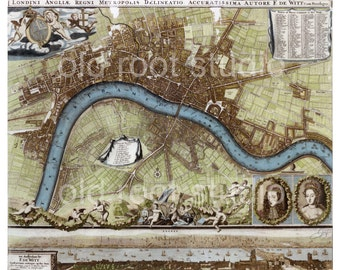Hand Painted Map of London, 1693 / Antique Map of London / Old Map of London / Illustrated Map London / London Map Art / London Thames Map