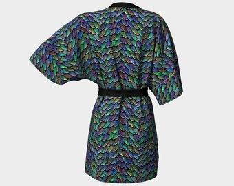 Mother of Dragons Fancy Rainbow Scales Print Lightweight Kimono Robe