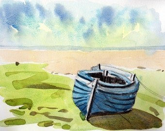 Landscape with boat original watercolor landscape painting original wall art green art blue art blue boat blue painting sea boat painting
