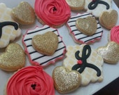 Gold and Pink Engagement Cookies