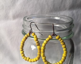 Yellow teardrop earrings