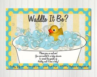 Rubber duck invitations Etsy