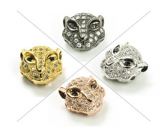 CZ Pave Bead, Leopard Bead, 9x9x4mm, Cubic Zirconia Pave Bead, 1 Piece, CB127