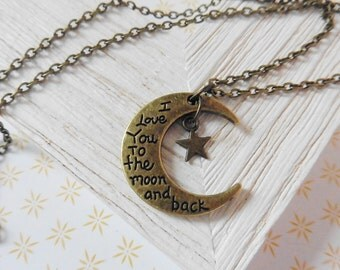 Necklace Necklet Chain Boho Vintage Moon Stars gift marriage wedding