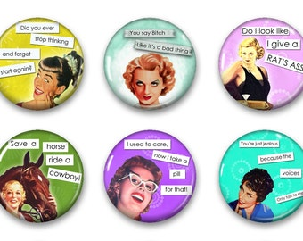 Magnets, Button Magnets, Fridge Magnets, Retro Housewives Magnets, 1 1/4 inch, Best friends gift, Hostess Gift, SET OF 6, Housewives 6.