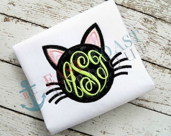 CAT FACE MONOGRAM machine embroidery design