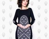 Long-Sleeve Deer and Fern Cross-Stitch on Black Dress-Eco-Friendly Ink-Artistic Woman's Dress-Screenprint Dress-bybeep