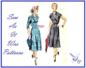 1940s Advance 5737 Women's Plus Large Size Collarless Dresses Flared Skirt Kimono Sleeves Vintage Sewing Pattern Large Size 20.5 Bust 40