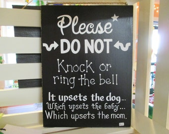 Please Do Not Knock Sign - Black