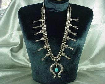 1950's/1960's Old/Dead Pawn Navajo Sterling Silver & Turquoise Squash Blossom Necklace Excellent Condition!!!!