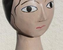 French Mannequin Head Bust - Milliner Head -Tête de Mannequin - Hat Stand