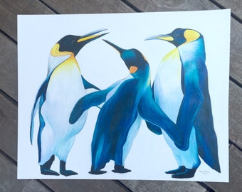 PENGUINS | print of original colored pencil drawing | 8x10 or 11x14 or 19x24