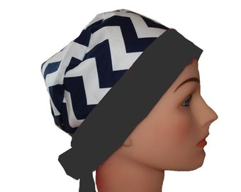 Scrub Hat Surgical Scrub Cap Chemo Hat Tie Back Flirty Front Fold Pixie Style Black Chevron Black Band 2nd Item Ships FREE