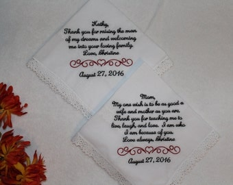 Wedding Handkerchief - Mother of the Bride Gift - Mother in law gift - wedding gift parents