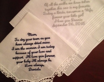 Mother and Father wedding handkerchief Set of two custom wedding handkerchiefs hankies