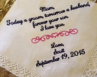 Mom Handkerchief Wedding - Mother of Groom Wedding Gift