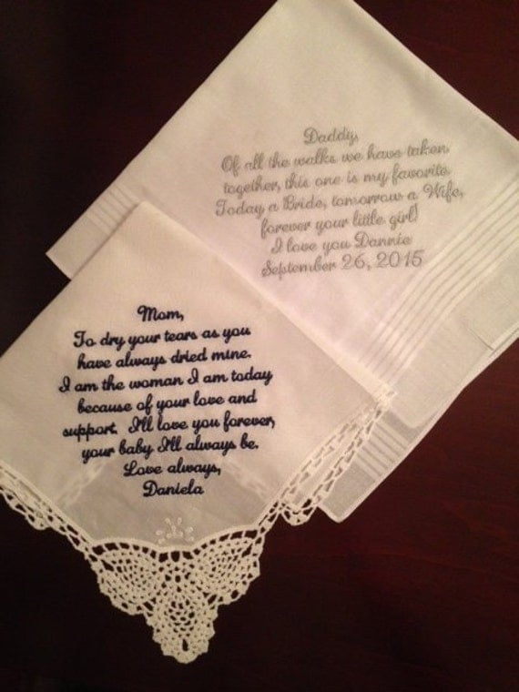 Mother of the bride gift - wedding handkerchief mom - to dry your ...