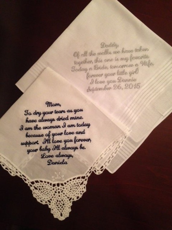 ... wedding handkerchief mom - to dry your tears - wedding gift for parent