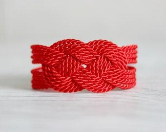 Red Rope Bracelet, Red Knot Bracelet, Red Nautical Bracelet, Rope Knot Bracelet, Knot Bracelet, Rope Bracelet, Red Bracelet, Sailor Knot