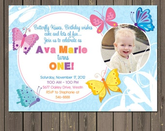 Butterfly Birthday Invitation, Butterfly 1st Birthday Invite, Butterflies Birthday Party, Girl Birthday, Photo Invitation, DIY or printed