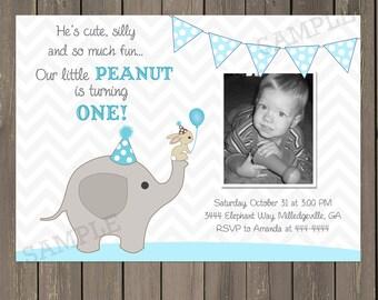 Elephant Birthday Invitation, First Birthday Elephant Invitation, Pink or Blue Little Peanut Invite, Photo Invitation, Printable