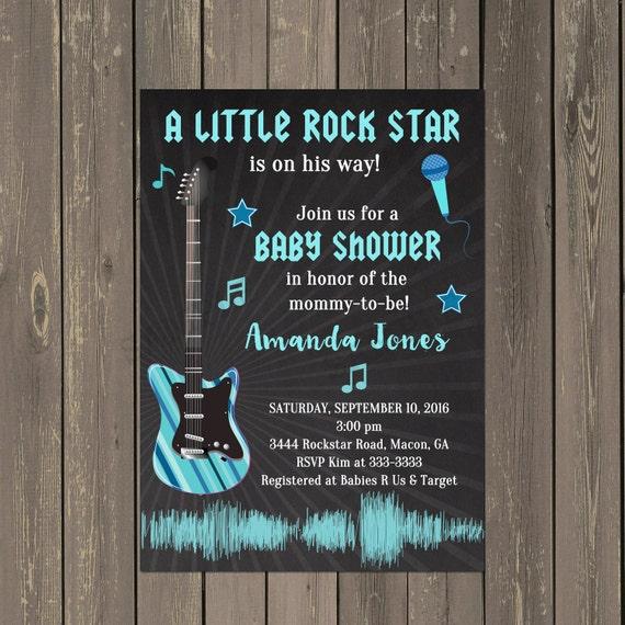 rock star baby shower invitation rock and roll baby shower. Black Bedroom Furniture Sets. Home Design Ideas
