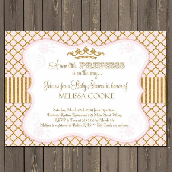 princess baby shower invitation, gold and pink baby shower invite, Baby shower