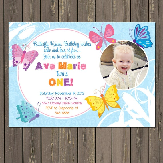 Butterfly Birthday Invitation Butterfly 1st Birthday Invite