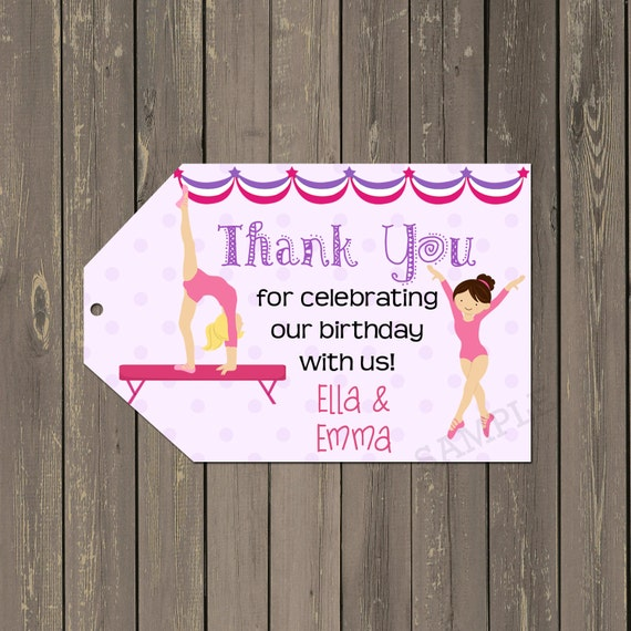 Gymnastics Favor Tag, Gymnastics Birthday Thank You ...