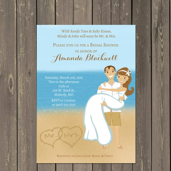 Rhode Island Wedding Invitation Printed: Beach Bridal Shower Invitation, Ocean Bridal Shower Invite