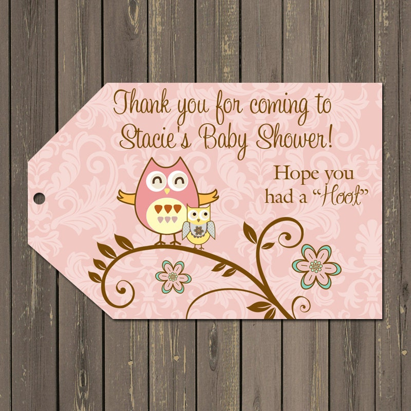 Owl Favor Tags Owl Baby Shower Favor Tags Owl Thank You
