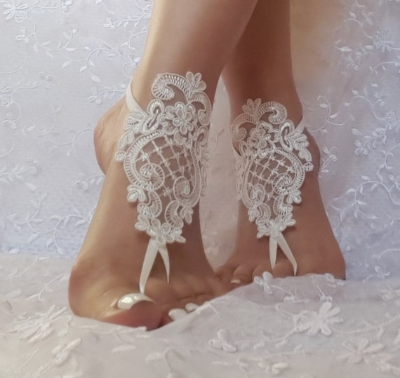 Free ship  ivory  wedding shoe barefoot sandles wedding prom party steampunk bangle beach anklets bangles bridal bride bridesmaid
