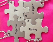 Personalized Hand Stamped Puzzle Piece Necklace Set Together We Make a Family  Customizable Necklace Blended Family