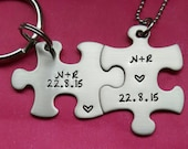 Customizable Initials and Date Hand Stamped Puzzle Piece His and Hers Necklaces and Keychain Couples Set