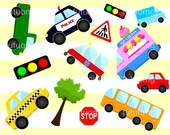Land Transportation Clip Art for Personal and Commercial Use - INSTANT DOWNLOAD - car, ice cream truck, police car, school bus, taxi