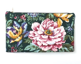 Peony Flower Pouch Clutch Purse Cosmetic Bag Peonies