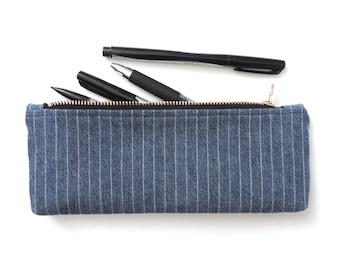 Pencil Case Zipper Pencil Pouch Stripe Denim