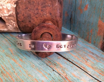 Baby Due Date Custom Hand Stamped Aluminum Bracelet