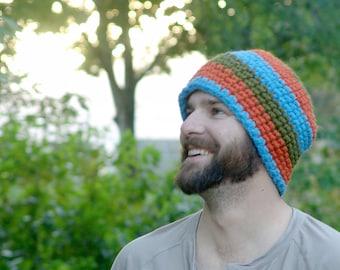Mens Striped Beanie Hat - Green, Blue and Orange - Handmade Wool Blend Beanie
