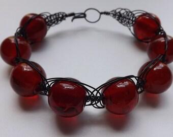 Wire Wrapped Macrame Herringbone Cuff Bracelet