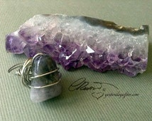 Amethyst silver wired ring, Purple Flame Amethyst ring