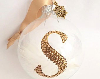Personalised Initial Glass Bauble with Swarovski Crystals