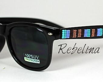 Beaded Sunglasses Turquoise Stripes