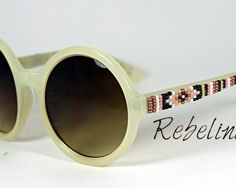 Hand Beaded Sunglasses Hippie Large Rounds