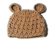 Crochet Baby Hat, Bear Ears, Light Brown, Newborn Baby Boy, Hospital Hat, Toddler Hat, Knit Bear Hat, Crochet Hat Ears, Kids Animal Hat