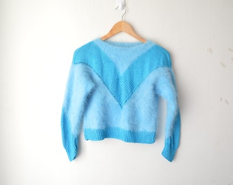 vintage blue furry fuzzy fluffy slouchy sweater 80s 90s // XS-S
