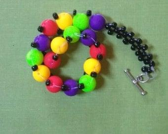 Beaded Woven Rainbow Bracelet