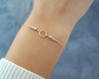 Gold Filled Ring Bracelet, Layering Bracelet, Minimalist Gold Bracelet, Layering Ring And Beads Bracelet, Minimal Gold Bracelet