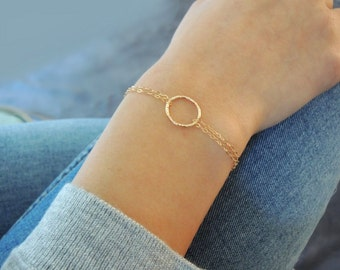 Dainty Gold Filled Ring Bracelet, Layering Bracelet, Minimalist Gold Bracelet, Layering Ring Bracelet, Delicate Gold Bracelet