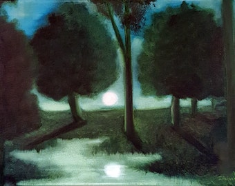 Sunset Painting//Oil Paintings//Landscape Painting//Southern Moon//12x16//Free Shipping//Oil Painting//Blue